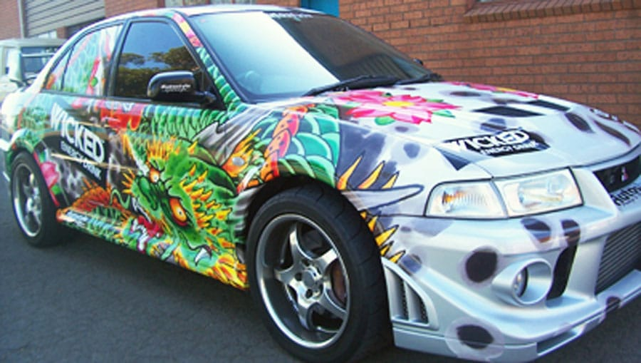 wicked energy drink car wrapping
