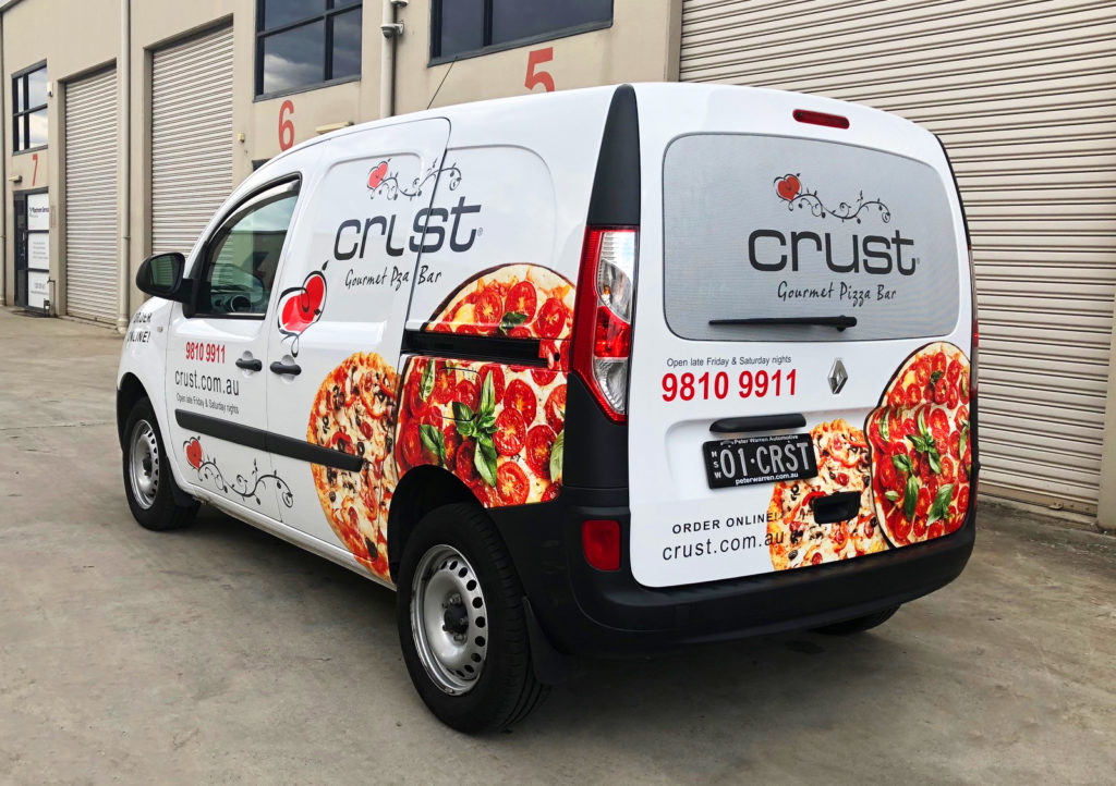 crust pizza van signage in sydney